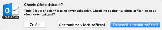 Snímek obrazovky s dialogem odstranění účtu