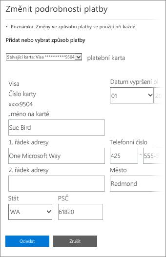 Stránka Podrobnosti platby, kde se dají aktualizovat informace o platební kartě.