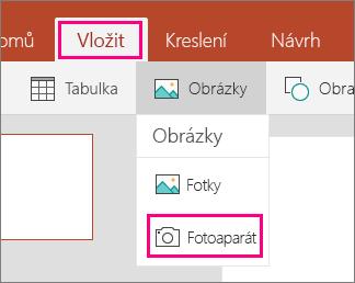 Ukazuje možnost Vložit obrázek z fotoaparátu v Office Mobile pro Windows 10
