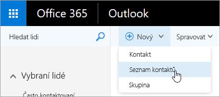 Snímek obrazovky s místní nabídkou pro tlačítko Nové a vybranou možností seznamu kontaktů