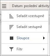 Snímek obrazovky s možnostmi nabídky pro sestavy Yammeru