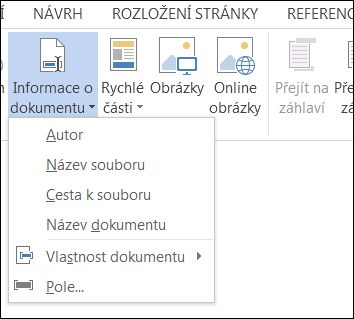 Nabídka Informace o dokumentu pro záhlaví a zápatí