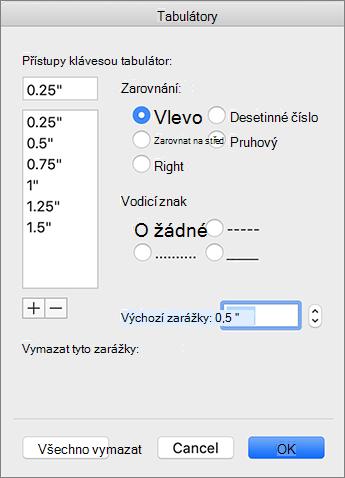 Dialogové okno karty Mac