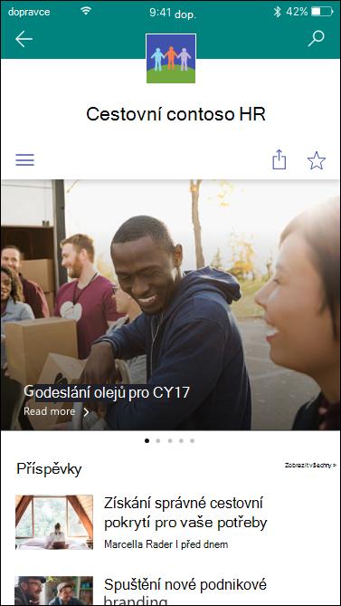 Mobilní zobrazení webu centrální služby SharePoint