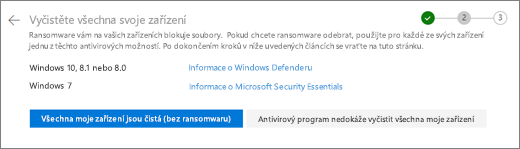 Snímek obrazovky s obrazovkou Vyčistit všechna zařízení na OneDrive webu