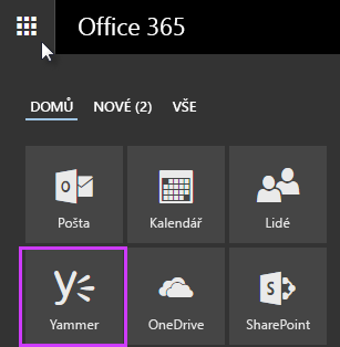 Snímek obrazovky s Yammerem ve spouštěči aplikací Office 365
