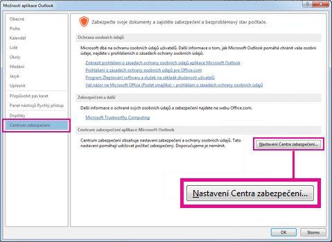 Centrum zabezpečení v možnostech Outlooku