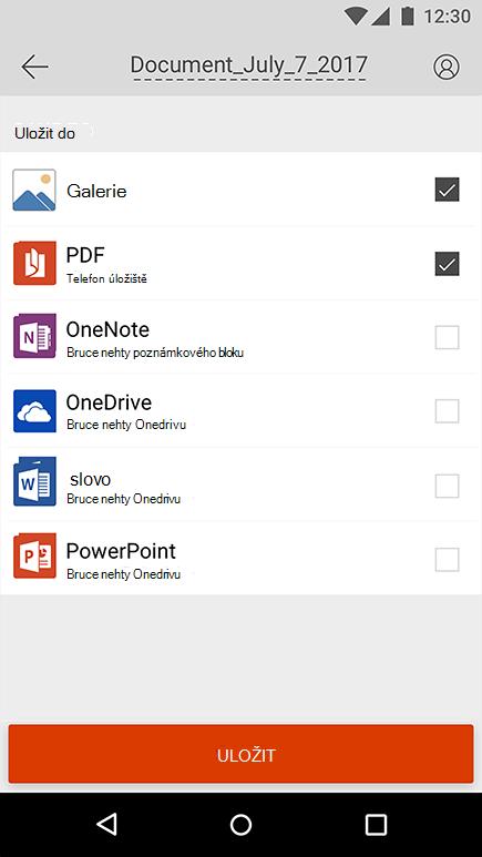 Snímek obrazovky se snímkem exportu v Office Lens pro Android