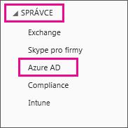 Zobrazuje nabídku správy Office 365. Vyberte třetí možnost, což je Azure AD.
