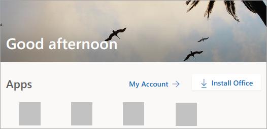 Snímek obrazovky s domovskou stránkou Office.com po přihlášení
