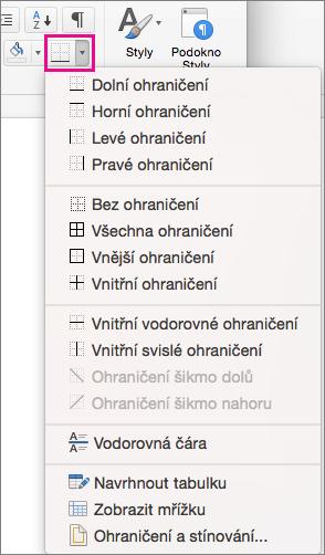 Na kartě Domů klikněte na ohraničení můžete přidat nebo změnit ohraničení na vybraný text.