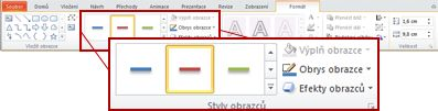 Karta Formát s nadpisem Nástroje kreslení v aplikaci PowerPoint 2010