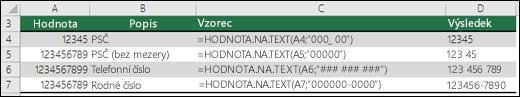 Speciální formáty pro funkci HODNOTA.NA.TEXT