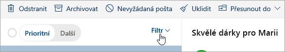 Snímek obrazovky s tlačítkem Filtr