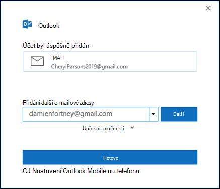 Nastavení účtu Gmail dokončíte výběrem možnosti Hotovo.