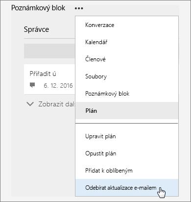 Snímek obrazovky, na kterém je seznam Další s aktivní možností Odebírat aktualizace e-mailem