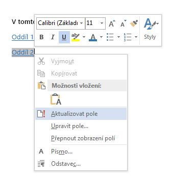 Nabídka zobrazená po kliknutí pravým tlačítkem pro odkaz na záložku