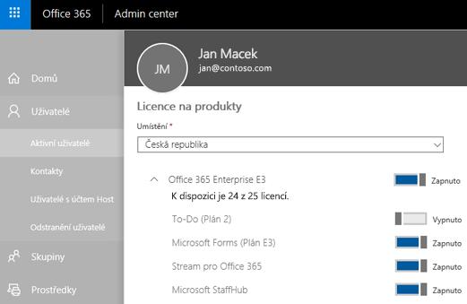 Snímek obrazovky se stránkou produktových licencí v Centru pro správu Office 365 s vypnutým přepínačem To-Do (Plán 2).