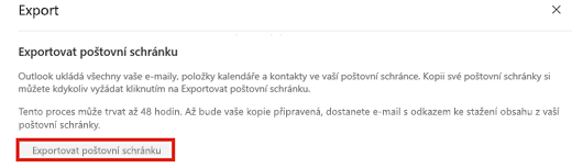 Snímek obrazovky s možností Exportovat poštovní schránku