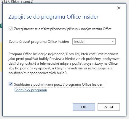 Dialogové okno Office Insider