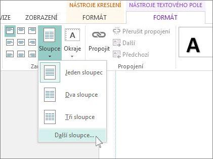 Nástroje textového pole − mezera mezi sloupci
