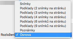 Výběr rozložení Osnova v dialogovém okně Tisk