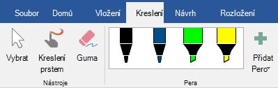 Pera a zvýrazňovače na kartě Kreslení v Office 2016