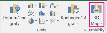 Možnost pro vložení 3D map v Excelu