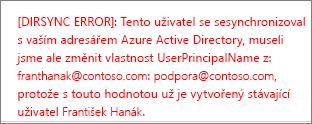 Podrobné informace o chybě při synchronizaci uživatelského adresáře