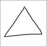 Zobrazuje rovnostranný trojúhelník nakreslený v rukopisu.