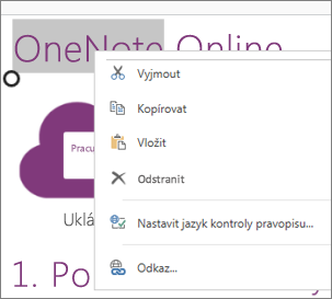 Místní nabídka ve OneNotu Online na dotykovém zařízení