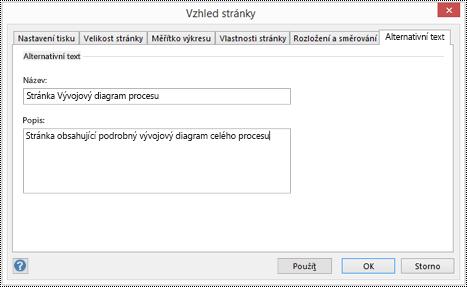 Dialogové okno s alternativním textem pro stránku ve Visiu