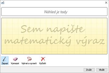 Vložení rukopisné rovnice v PowerPointu pomocí dialogového okna Ovládací prvek pro matematický zápis
