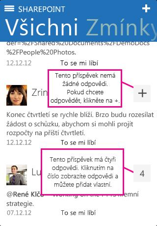 Snímek obrazovky s několika odpověďmi v SharePointu Newsfeed pro iOS