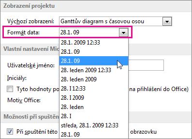 Seznam formátů data v dialogovém okně Možnosti projektu