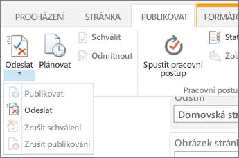 Tlačítka Odeslat na kartě publikování v režimu úprav.