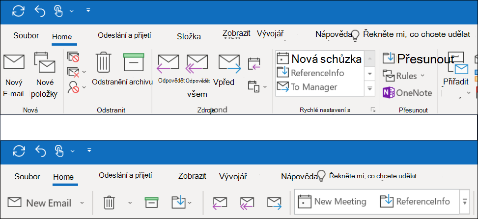 Teď si můžete v Outlooku vybrat ze dvou různých pásem karet.