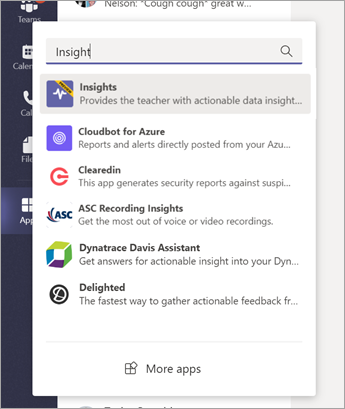 Na panelu aplikace v Teams vyberte ikonu aplikace a pak vyberte výsledek Insights