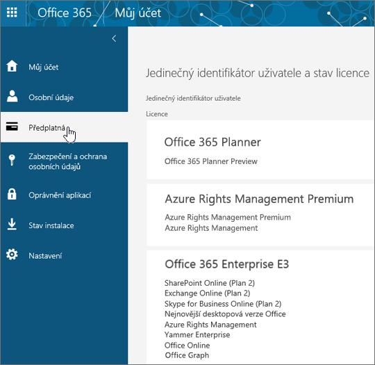 Stránka Předplatná Office 365