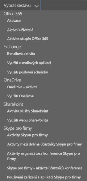 Sestavy Office 365 – rozevírací seznam používaných e-mailových klientů