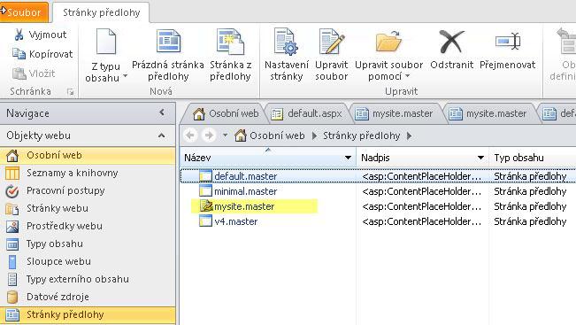 Seznam stránek předlohy SharePointu 2010.