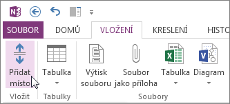 Vložení nebo odebrání místa pomocí tlačítka Přidat místo.
