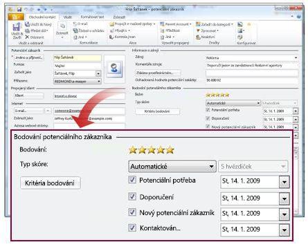 Záznam potenciálního zákazníka se zobrazením jeho skóre