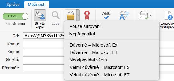 Nová možnost šifrování s podporou služby Šifrování zpráv Office 365, možnost Nepřeposílat a šablony IRM