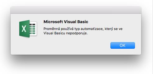 Chyba Microsoft Visual Basicu: Proměnná používá typ automatizace, který se ve Visual Basicu nepodporuje.