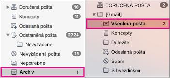 Vedle sebe zobrazené seznamy složek Exchange a Gmailu se zvýrazněnými složkami archivu