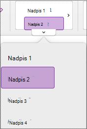 Nabídka stylu nadpisu ve OneNotu pro Mac