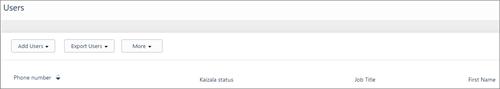 Snímek obrazovky: Přidání uživatele Kaizala telefonních čísel