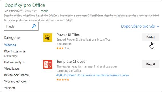 Snímek obrazovky s doplňky Office stránky, kde můžete vyberte nebo vyhledejte doplněk pro aplikaci Excel.