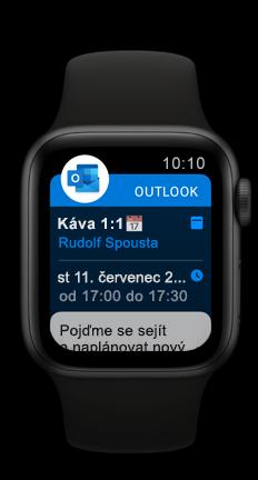 Apple Watch zobrazující událost kalendáře v Outlooku